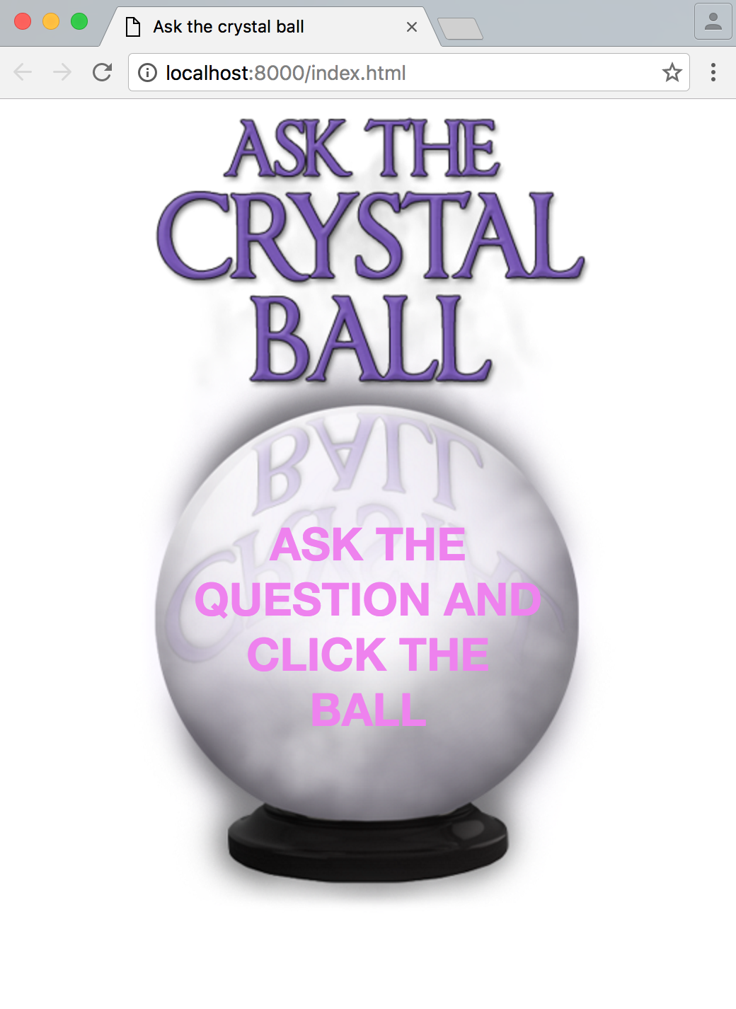 Crystal ball app in browser